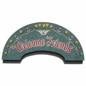 WELCOME FRIENDS Pennsylvania Dutch Arced Wood Sign